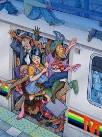 Ilustración de lo que es viajar pegados en el metro